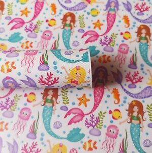 Mermaid Under The Sea, Canvas Fabric Sheet, for bow making, crafts A4