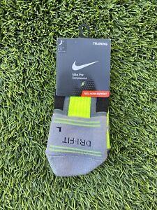 New Original Nike Elite Dri Fit Socks Volt Crew Cut Training Size Large 8-12