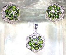 NATURAL CHROME DIOPSIDE 925 SILVER 14K GOLD PLATED EARRINGS & PENDANT  SET  #66
