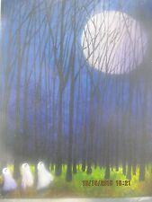 Moonlit Folk Art Halloween Haunted Ghost Moon Acrylic Painting Lizzy Rainey