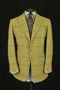 Redwood & Feller Bespoke Beige Plaid Heavy Tweed Sport Coat 42R Made In England
