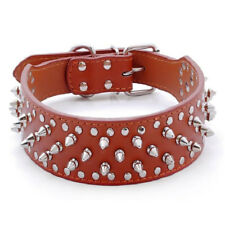 Pet Dog PU Spiked Studded Leather Dog Collar Rivet Puppy Bull Punk Pit Neck