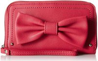 LuLu - Bow Reinforced Zip Around Phone Wallet - Red