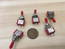 5 () Sleeve cap RED () 5A ON-OFF Toggle Switch SPST 6mm 1/4 125v 12v on off C17