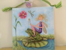 "Original Fairy canvas painting Giclee By Artist 12"" X 12"" Includes Painted Knob"