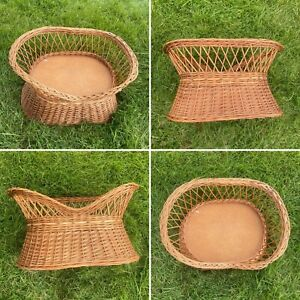 VINTAGE WOVEN WICKER SMALL ANIMAL CAT PET BED BASKET CHAIR SEAT ELEVATED