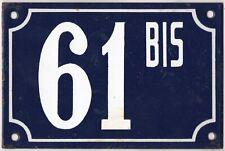 Old blue French house number 61 B BIS door gate plate plaque enamel steel sign