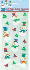 SNOWMAN GLEE Christmas Cellophane Cello Party Sweet Cookie Bags - Pack of 20