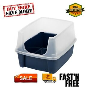 Open-Top Cat Litter Box With Shield, easy to clean, Regular, Come with a scoop