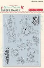 October Afternoon Christmas SILENT NIGHT Merry Mouse Rubber Stamps Cling 9pc