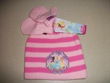 New Toddler Girls Beanie Hat Mittens Set Disney Princesses Pink Cap Cinderella
