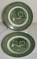 ROYAL CHINA COLONIAL HOMESTEAD SPINNING WHEEL GREEN BREAD BUTTER PLATES SET OF 2