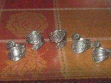 WHOLESALE LOT OF 5 SILVER PLATED RING FLORAL SPOON RINGS SIZES 5 -10 ADJUSTABLE