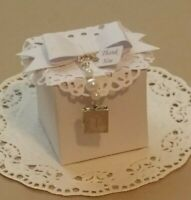 Wedding,baby shower,christening,white favor boxes with bible locket-pk-20,50,100