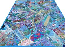 Indian Quilt Patchwork Blue King Bed Cover Handmade Embroidery India Bedspread