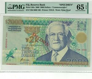 FIJI P# 103s 2000 $2000 COMMEMORATIVE SPECIMEN PMG 65 EPQ GEM UNC LARGER NOTE