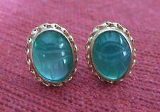 14k Yellow Gold Green Small Scarab Post Earrings