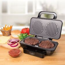 800W Electric Non-stick Twin Hamburger Burger Patty Maker Grill Griddle Cooker