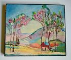 Vintage Landscape Mountain Farm Folk Art Oil Canvas Painting by Thekla Knierim
