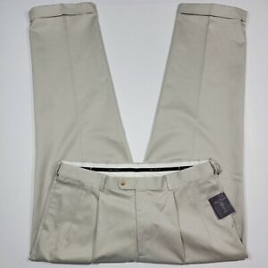 Alan Flusser Golf Khaki Pants - DBL Pleat - Hidden Expandable Waistband - 38x32