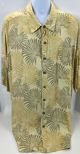 Roundtree Yorke Caribbean Mens Size 3X Hawaiian Shirt Yellow Big And Tall