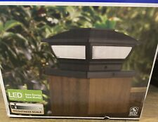 BLACK SOLAR LED DECK POST CAP LIGHT Outdoor Garden Patio Lighting