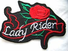 """LADY RIDER RED NEW 3-1/4""""/2-3/4"""" EMBROIDERED MOTORCYCLE PATCH SEWN/IRON ON"""