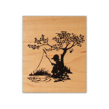 Boy Fishing Silhouette mounted rubber stamp, summer vintage style kid Cms #1