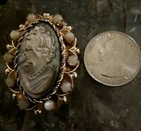 RARE Antique Vintage Mother Of Pearl Carved Cameo Brooch Pendant Gold 12KT