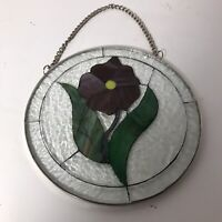 """Stained Glass 7"""" Round Suncatcher Purple & Green Violet with Clear Ripple Glass"""