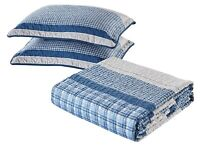 Modern Plaid 3-Piece Bedspread and Pillow Sham Set | Matching Curtains Available