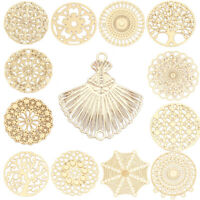 Metal Filigree Stamping Connectors Hollow Round Gold Plated Sillver Tone 10 PCs