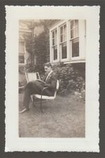 [68691] 1939 MAN READING in front of HOUSE, REYNOLDS STREET, WILKES-BARRE, PA.