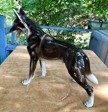 "Huge 22"" Antique Keramos Glass Porcelain German Shepherd Figurine Vienna Austria"