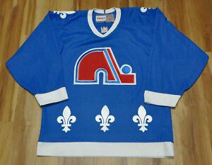 QUEBEC NORDIQUES BLANK CCM VINTAGE AVALANCHE BLUE JERSEY NHL MEN MEDIUM SEWN