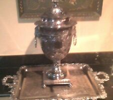 SHEFFIELD OF ENGLAND SILVERSMITHS SAMOVAR & HANDLED TRAY ANTIQUE NUMBERED 3 0F 3