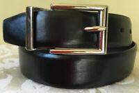 CHAPS Bonded Leather Black Brown Reversible Men's Belt Size 26-28 EUC
