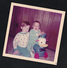 Vintage Photograph Adorable Little Boy w/Baby on Ride on Donald Duck Toy
