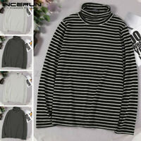 Mens High Neck Long Sleeve Striped T-shirt Casual Shirt Pullover Tops Underwears