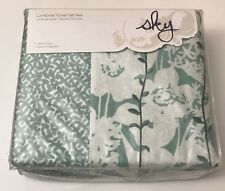 SKY - Ombre Vines Green and White Floral Twin Duvet Cover Set