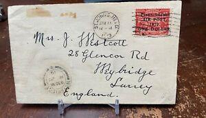NEWFOUNDLAND 1919 Trans-Atlantic Air Post $1 on 15c scarlet Scott# C2 Cover