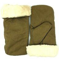 Russian military winter mittens, gloves natural sheepskin 27 size type A White