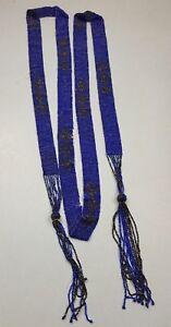 ANTIQUE ART DECO FLAPPER BEADED BLUE & YELLOW WAIST BELT NEEDS SOME TLC