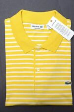 NWT Lacoste Men's Regular Fit Light Yellow Wasp Striped Cotton Polo Shirt 2XL 7
