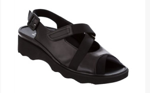 Thierry Rabotin Kayla Black Nappa Comfort Sandal Women's Sizes 36-42/6-12/NEW!!
