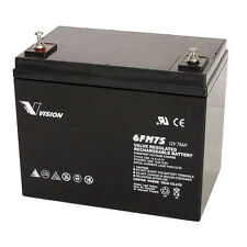 Vision 6FM75 12V 75Ah 10Yrs Long Service Life AGM Sealed Lead Acid Battery