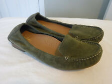 WOMENS COLE HAAN OLIVE GREEN SUEDE MOCCASIN LOAFERS BALLET FLATS SLIP ONS 8 B MI