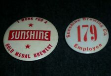 Rare Vintage Lot of Sunshine Beer Employees Pinback Buttons