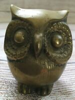 Vintage Brass Hoot Horned Screech Owl Paperweight MCM Mid Century Figurine Art