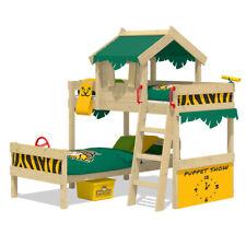WICKEY Kinderbett Etagenbett Crazy Jungle mit grün/gelbe Plane Hochbett